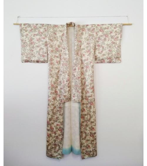Vintage silk kimono with flowers.