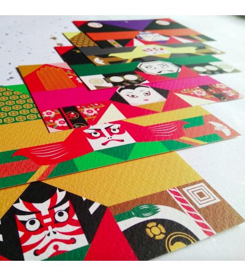"Kit origami-postcards ""Kabuki"" COCHAE."