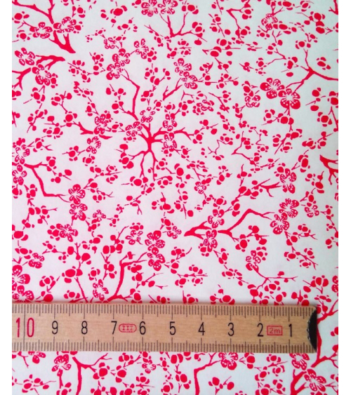 Chiyogami paper. Red Ume over white
