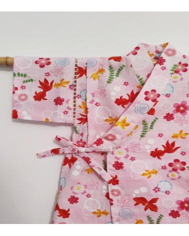 Jinbei rosa de peces y flores
