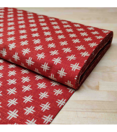 Japanese 'Igeta' cotton fabric over red