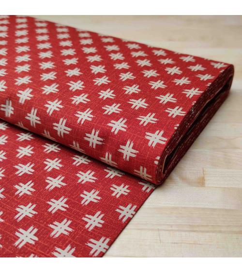 """Tejido japonés de algodón """"Igeta"""" en rojo"""