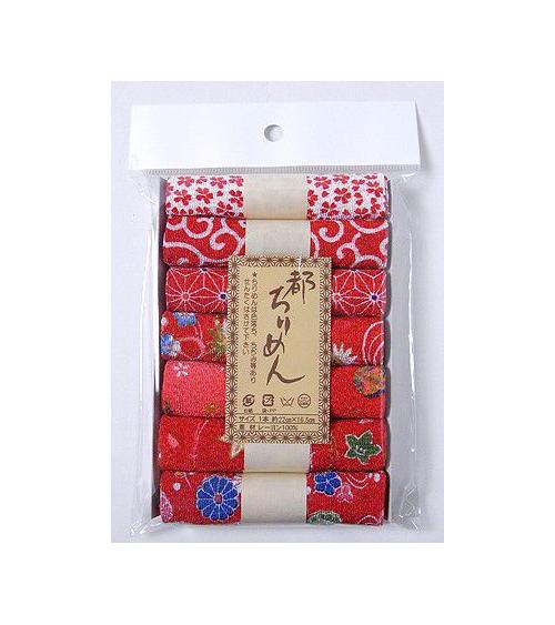 Set de 7 rollos tela chirimen (rojo)