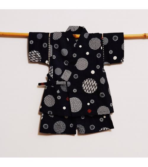 Children's jinbei. Navy blue with circles.