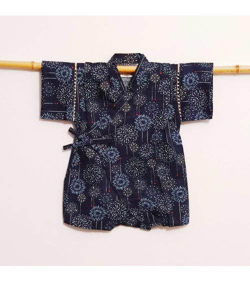 Baby's romper-jinbei 'Hanabi' blue.