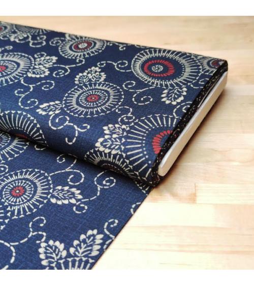 "Tela japonesa de algodón ""Hanakarakusa"" en azul"