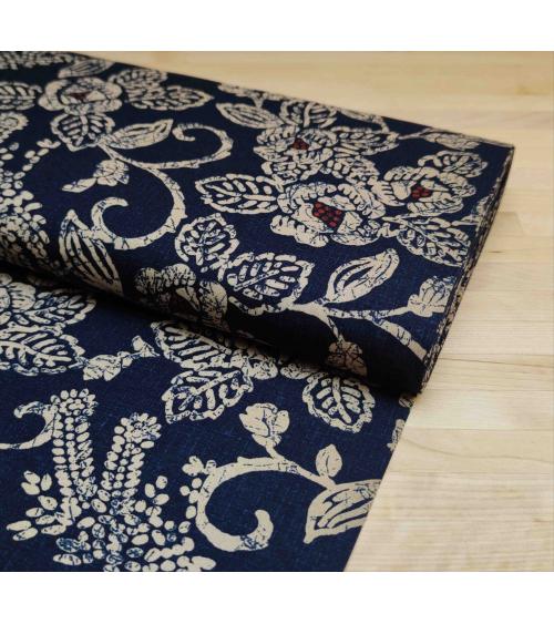 Tela japonesa de algodón motivos vegetales en azul