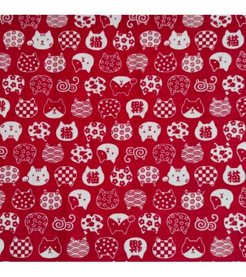 Dobby Japonés. Cabezas de gato (neko) en rojo