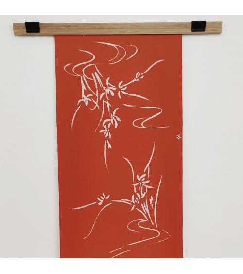 "Panel mural de seda japonesa vintage ""Iris"""
