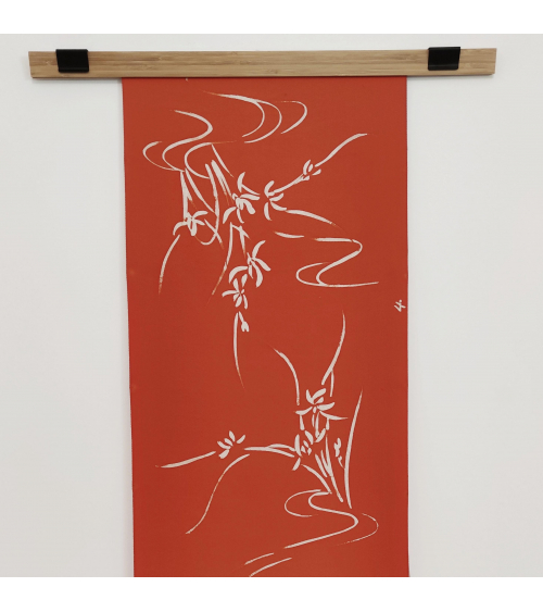 Vintage silk wall panel 'Iris'