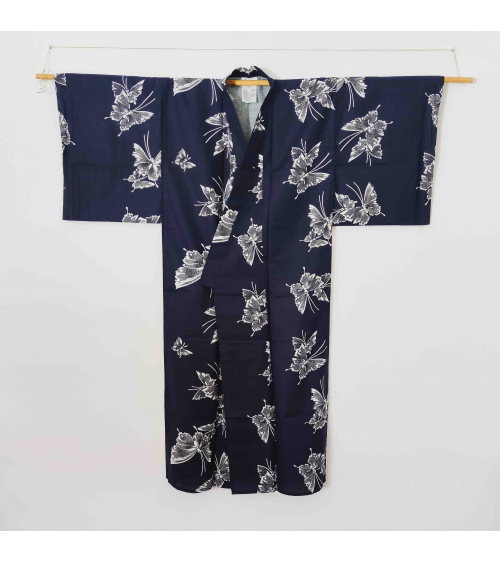 Japanese navy blue yukata with butterflies.
