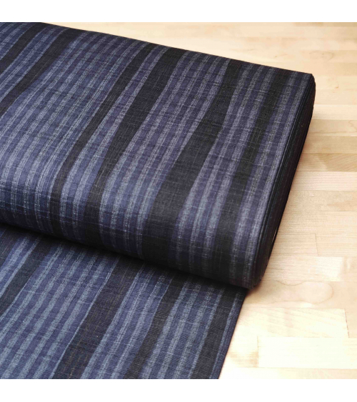 Japanese dobby fabric with blue stripes.