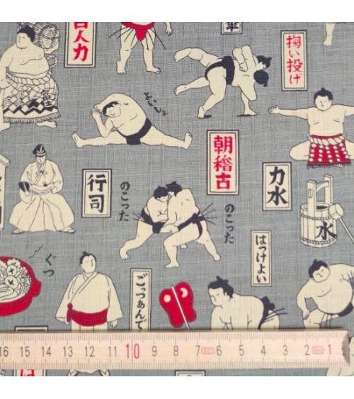 "Tela dobby japonés ""Sumo"" en gris."