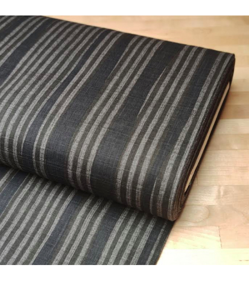 Japanese dobby fabric with grey-taupe stripes.
