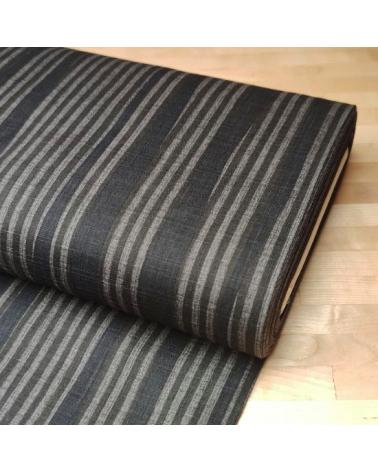 Tela dobby japonés de líneas en gris Topo.