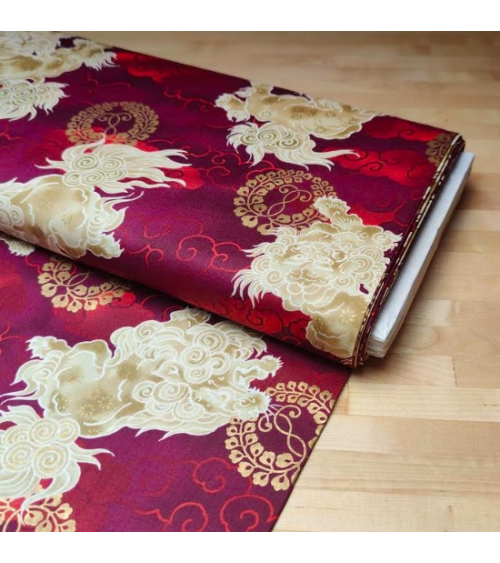 Japanese cotton fabric 'Sishi' (lion) in red