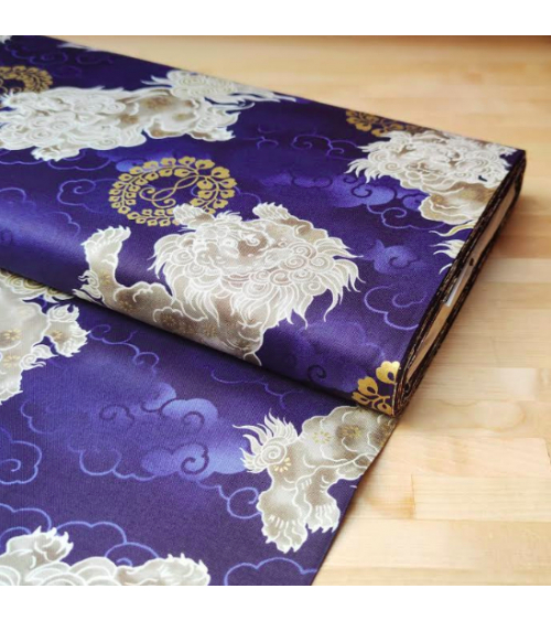 Japanese cotton fabric 'Sishi' (lion) in blue