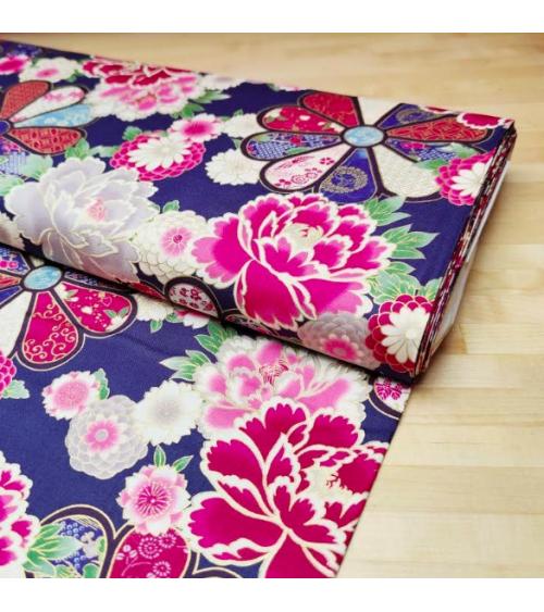 Japanese cotton fabric 'Roseton' in blue