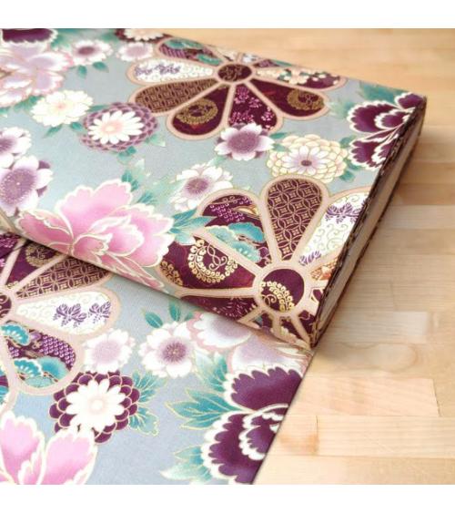 Japanese cotton fabric 'Roseton' in pearl grey