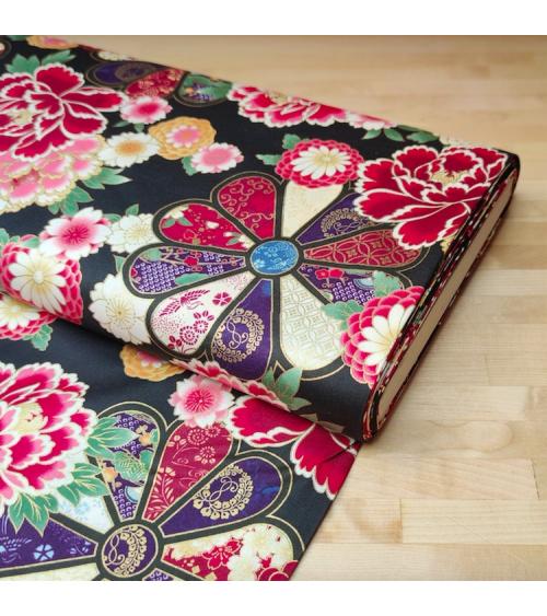 Japanese cotton fabric 'Roseton' in black