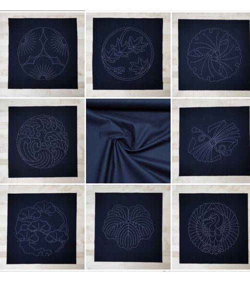 Template 24x23,5cm for sashiko (Japanese embroidery) in black.