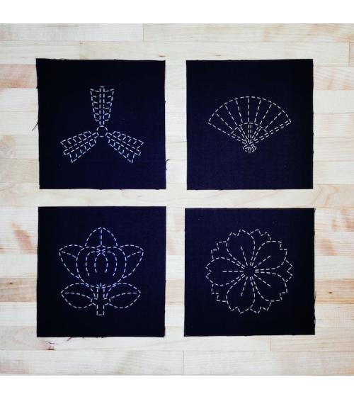 Conjunto de 4 plantillas 11x11cm sashiko (bordado japonés) en negro.