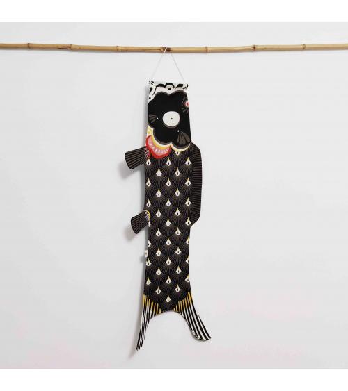 Japanese koinobori (carp kite) 'Papa Koi' in black