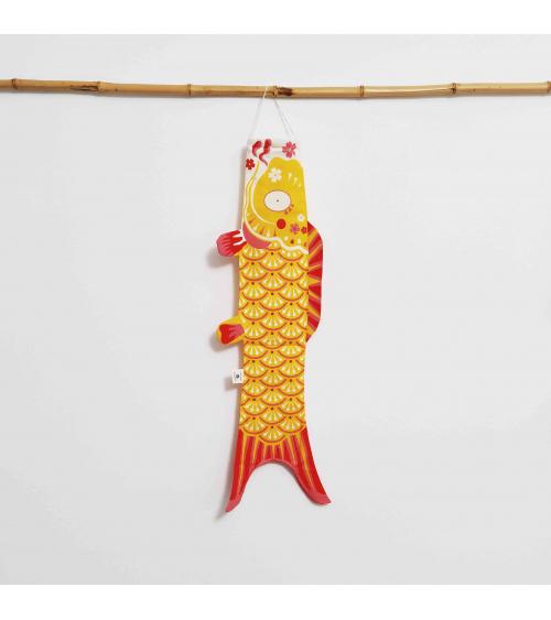 Japanese koinobori (carp kite) in curry yellow.