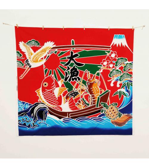 """Bandera de pescadores japonesa """"Buena Pesca"""" (Tairyou-bata) en rojo."""