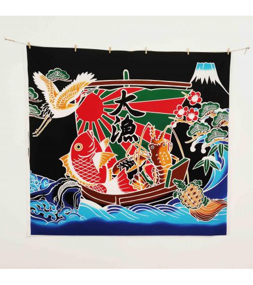 """Bandera de pescadores japonesa """"Buena Pesca"""" (Tairyou-bata) en negro."""