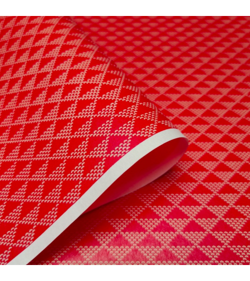 Lacquered chiyogami paper 'Uroko' red and white