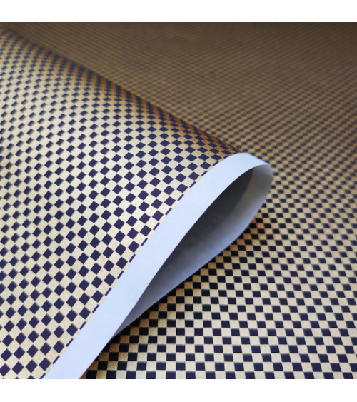 Chiyogami paper with checkerboard pattern in gold and black
