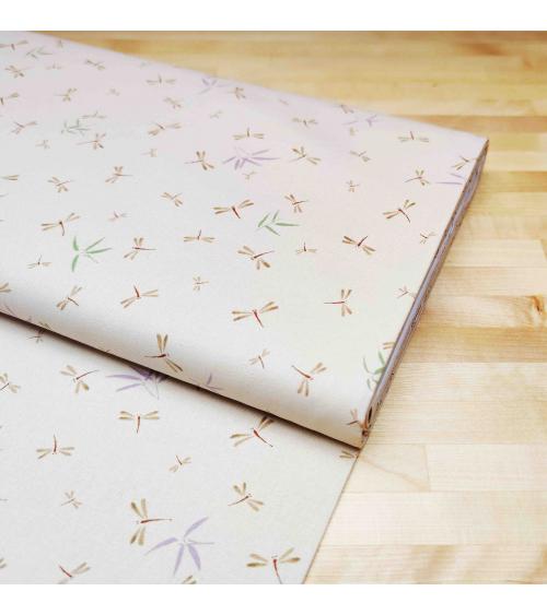 Tela japonesa. Libélulas y bambú beige rosado.