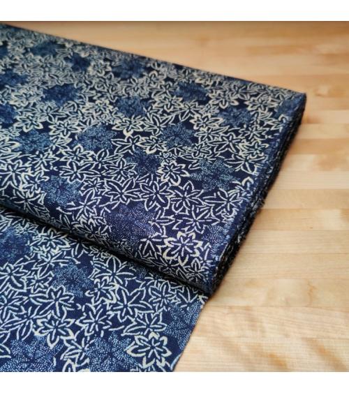 Japanese fabric Rustic Indigo. 'Momiji'