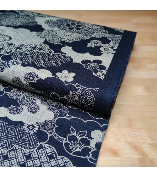 Japanese fabric Rustic Indigo. 'Kumo to hana'