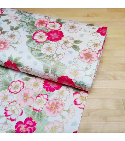 """Tela japonesa en Satin de algodón """"Sakura doble"""" blanco."""