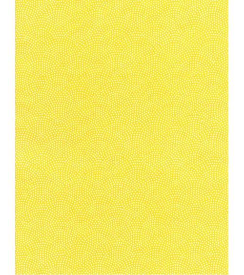 Papel Chiyogami de ondas punteadas sobre fondo amarillo