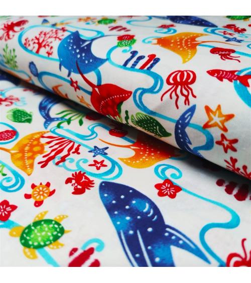 Japanese fabric. 'Okinawa Sea' white.
