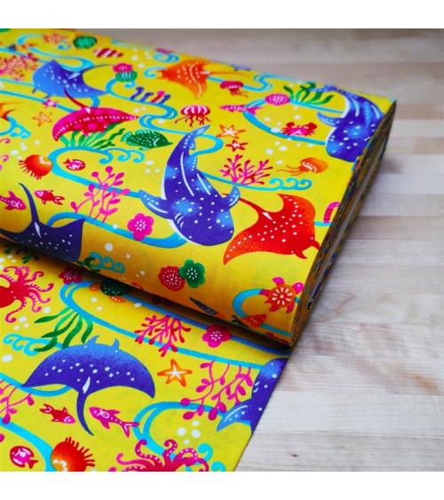 Japanese fabric. 'Okinawa Sea' yellow.