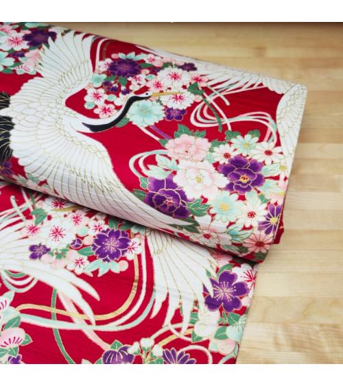 """Tela japonesa en Satin de algodón """"Grullas XL"""" rojo."""