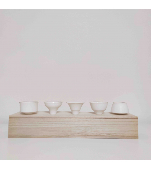 "Set of 5 ""eggshell"" porcelain sake glasses"
