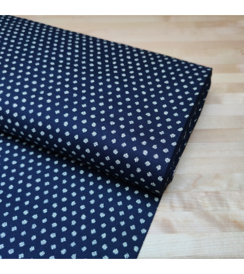 "Japanese polka-dotted ""mame shibori"" cotton fabric in blue"