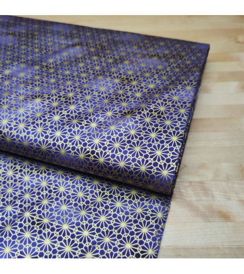 Japanese fabric. Golden arabesque on blue