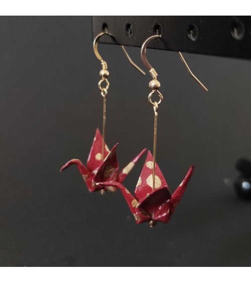 Maroon and golden origami Earrings. Goldfilled.