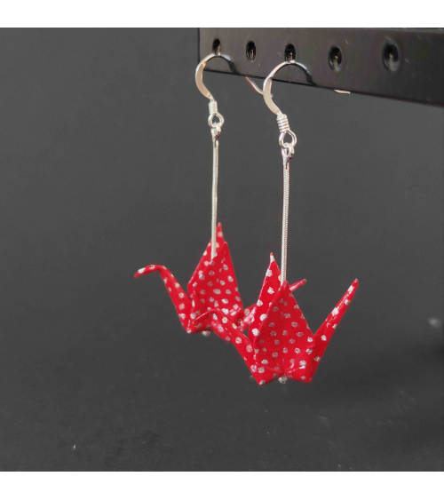 Pendientes grullas origami rojo y plata