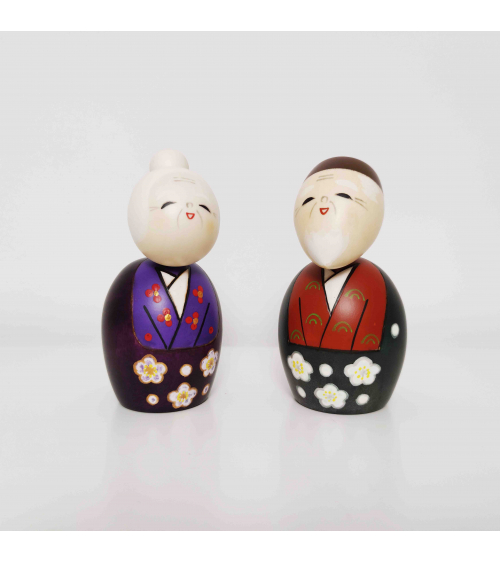 Couple of creative Kokeshi Smiling Grandparents