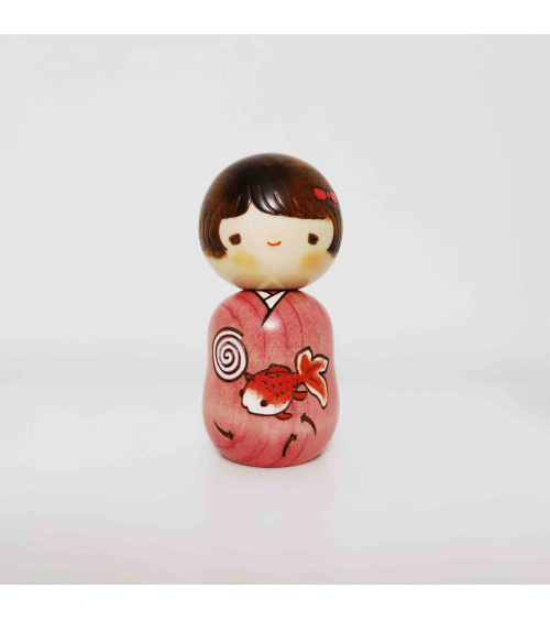 Kokeshi Girl with koifish