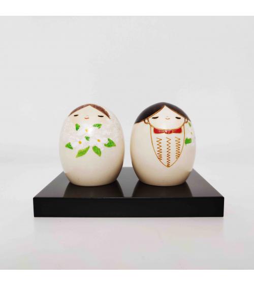 Pareja de Kokeshi creativas novia y novio (Boda)