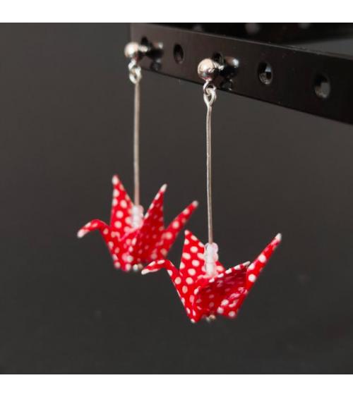 Pendientes grullas origami de lunares rojos y bolita de plata