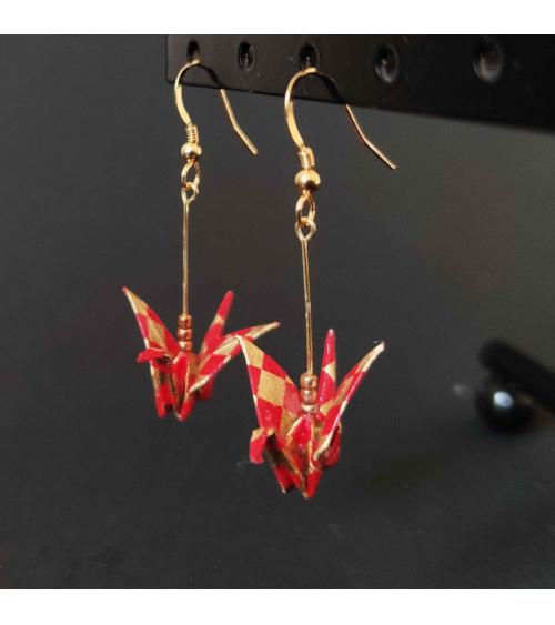 Pendientes grullas rojo y oro ichimatsu. Plata chapada en oro.